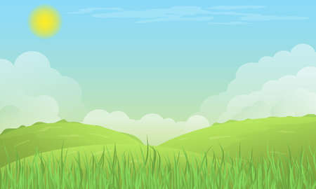 Vector scene with hills, clouds, grass, sun.