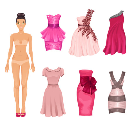 Illustration pour dress-up doll with an assortment of pink prom and cocktail dresses - image libre de droit