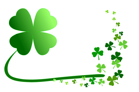 Illustration pour Pattern of green shamrocks, four leaf clover vector illustration. Use as background, greeting card, or element for graphic design in concepts of holiday celebration, lucky, happiness, love, outstanding, etc. - image libre de droit