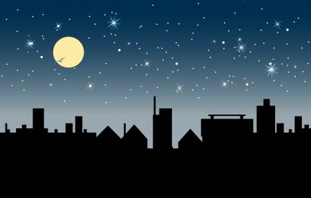 Ilustración de  Building at night with stars and moon in the sky  - Imagen libre de derechos