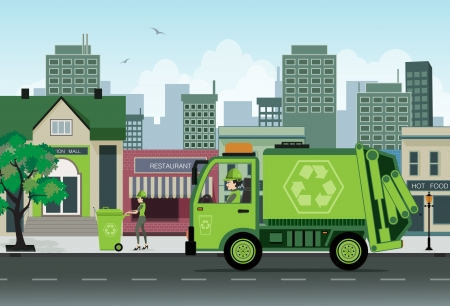 Illustration pour Are employees of garbage collection in the city   - image libre de droit
