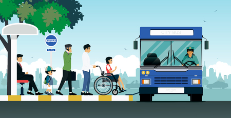 Illustration for Disabled people are using the bus for the disabled. - Royalty Free Image