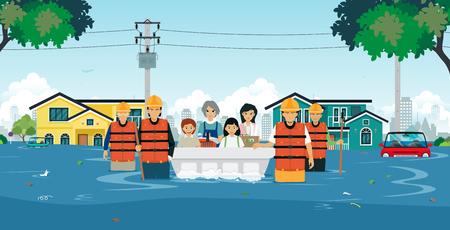 Illustration pour Flood rescue teams are helping children and women out of floods. - image libre de droit