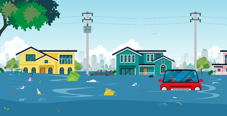 Illustration pour City floods and cars with garbage floating in the water concept illustration. - image libre de droit
