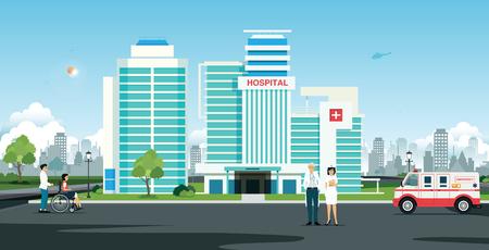 Ilustración de Doctor and nurse in front of hospital with ambulance - Imagen libre de derechos