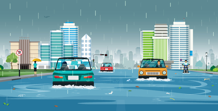 Illustration pour Cars are running on flooded streets in the city. - image libre de droit