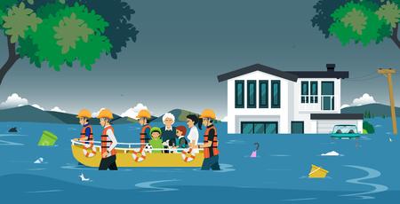 Illustration pour The rescue team brought the boat to help flood victims. - image libre de droit