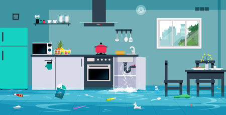 Illustration pour Flood in the kitchen caused by leaking water pipes. - image libre de droit