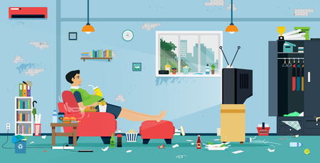 Illustration for Fat men are watching TV in a room full of food and dirt. - Royalty Free Image