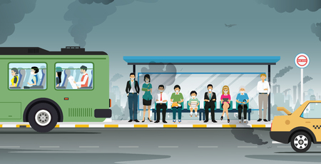 Illustration pour Cars are emitting air pollutants with masked people. - image libre de droit