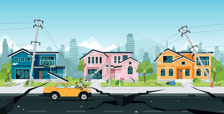 Illustration for Earthquake damage to houses and electric poles collided with cars. - Royalty Free Image