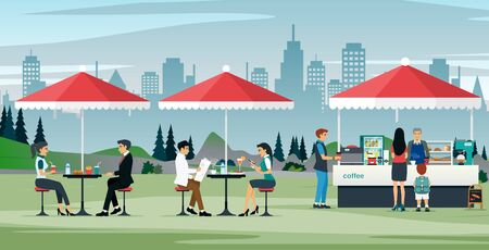 Illustration pour Male and female workers eating at an outdoor cafe - image libre de droit