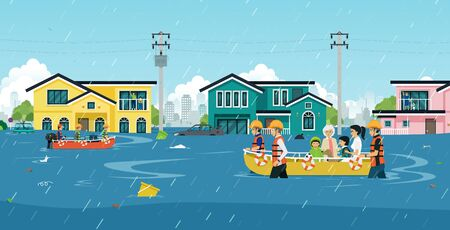 Illustration pour Rescuers are helping to move people out of flood areas. - image libre de droit