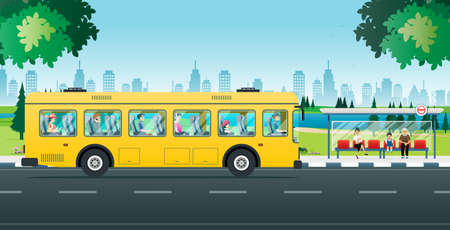Illustration for People are sitting and waiting to use the bus service. - Royalty Free Image