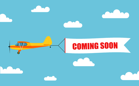 Illustration for Flying advertising banner, pulled out by light aircraft with the inscription COMING SOON - stock vector. - Royalty Free Image