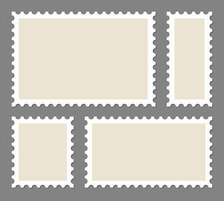 Illustration pour Blank Postage Stamps frames set - stock vector. - image libre de droit