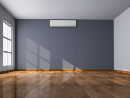 Foto per Modern bright empty room with air conditioning 3D rendered illustration - Immagine Royalty Free