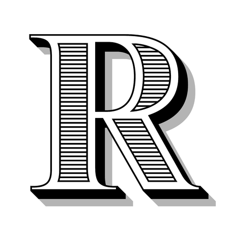 Classic R font with lines in the Victorian style.