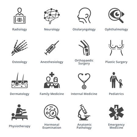 Vektor für Medical Specialties Icons Set 3 - Black Series - Lizenzfreies Bild