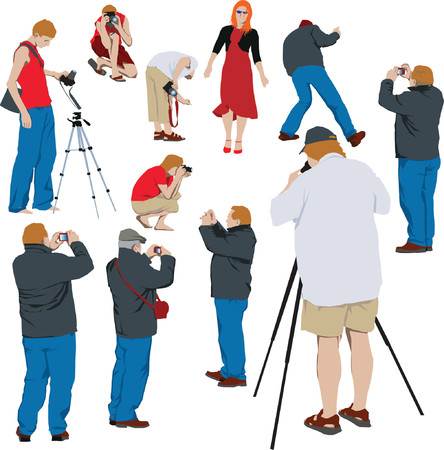 10 photographers shooting young model. Color vector illustration