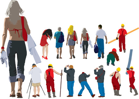 People going away. Colour illustration of people from back