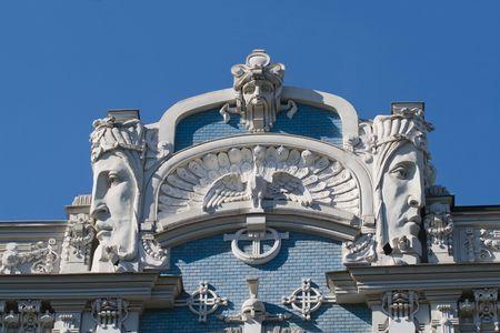 Detail of Art Nouveau (Jugenstil) building in The historic center of Riga, Latvia.