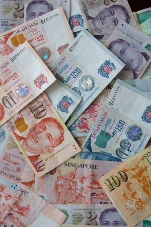 Money background from Various nominal Singapore dollars
