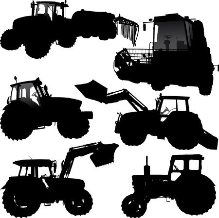 Set of vector silhouettes of tractor and combine