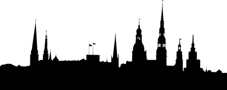 Vector illustration of Riga old city panorama silhouette.