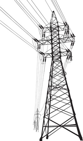 silhouette of high voltage power lines and pylon