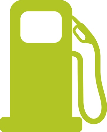 Gas pump sign. Green vector illustration