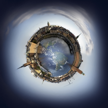 Stockholm old town skyline, 360 degree miniplanet