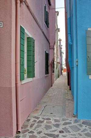 A very narrow street in Burano island