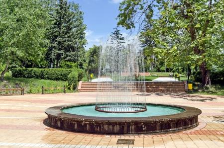 Circular garden fountain in