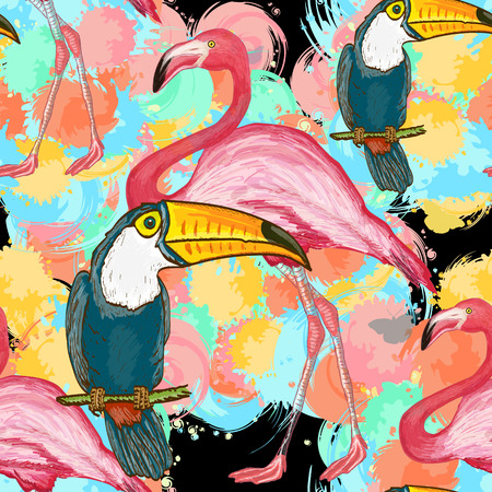 Vector seamless tropical pattern. Toucans and flamingos exotic floral background