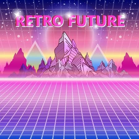 Retro future, 80s style Sci-Fi Background  Wave music album