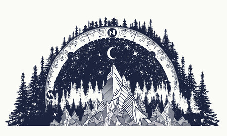 Mountain antique compass and wind rose tattoo. Adventure, travel, outdoors art symbols. Boho style, t-shirt design. Compass and mountains mystical tattoo