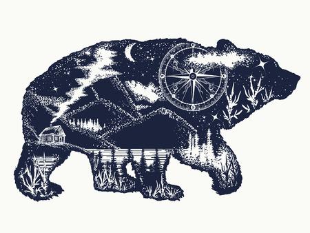 Illustration pour Bear double exposure tattoo art. Tourism symbol, adventure, great outdoor. Mountains, compass. Bear grizzly silhouette t-shirt design - image libre de droit