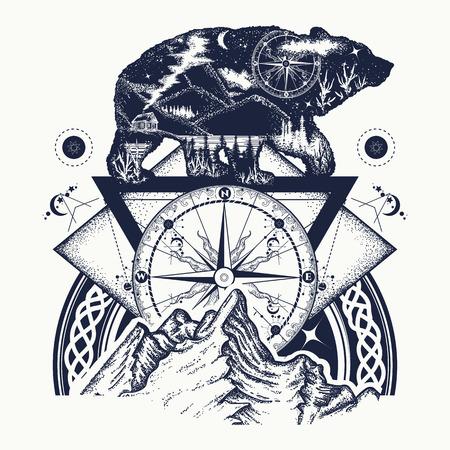Illustration pour Bear double exposure, mountains, compass, tattoo art. Tourism symbol, adventure, great outdoor. Mountains, compass. Bear grizzly silhouette t-shirt design - image libre de droit