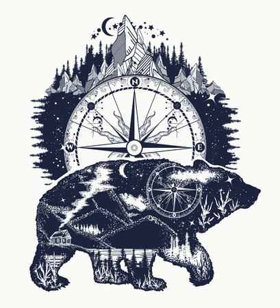 Illustration pour Bear double exposure, compass, mountains tattoo art. Bear grizzly silhouette t-shirt design. Tourism symbol, adventure, great outdoor - image libre de droit