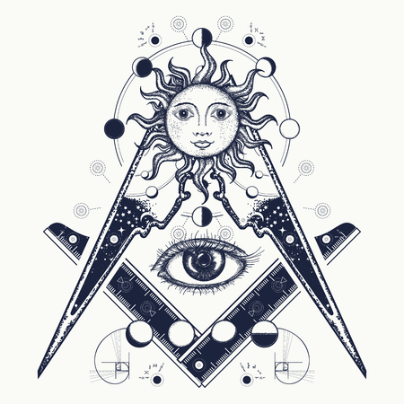 Masonic symbol tattoo and t-shirt design. All seeing eye. Alchemy, medieval religion, occultism, spirituality and esoteric tattoo. Magic eye t-shirt design. Mysteries of knowledge of mankind