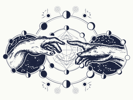 Illustration for Hands tattoo Renaissance. symbol of spirituality, religion, connection and interaction.  Michelangelo God's touch. Human hands touching with fingers tattoo and t-shirt design - Royalty Free Image