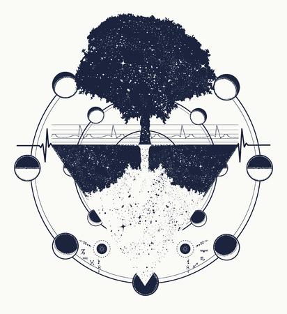 Illustration pour Tree of Life tattoo art, geometrical style, mystic tribal symbol. Future and the past, symbol of life and death, magic tree tattoo boho style. Magic tree t-shirt design - image libre de droit