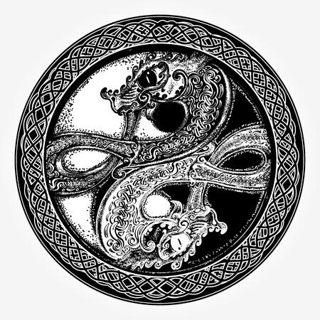 Illustration pour Black and white dragon in Yin yang t-shirt design - image libre de droit