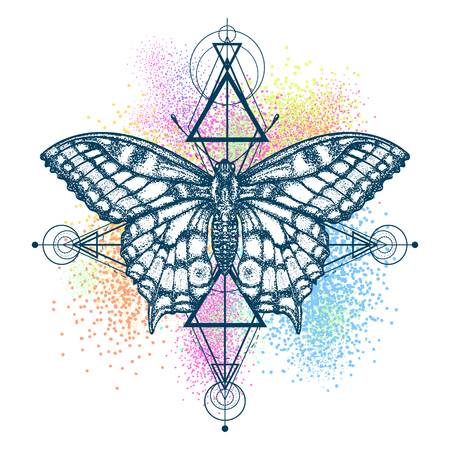 Magic butterfly color tattoo, geometrical style. Beautiful Swallowtail boho t-shirt design. Mystical symbol of freedom, nature, tourism. Realistic butterfly art color tattoo for women