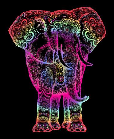 Illustration pour Elephant tattoo. Symbol of meditation, love, freedom, spiritual search. Boho elephant tattoo and t-shirt design. Decorative colorful elephant sacral ornament - image libre de droit