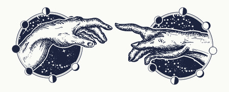 Michelangelo God's touch. Human hands touching with fingers tattoo and t-shirt design. Hands tattoo Renaissance. Gods and Adam, symbol of spirituality, religion, connection and interaction