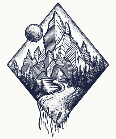 Illustration pour Mountain and river tattoo and t-shirt design. - image libre de droit