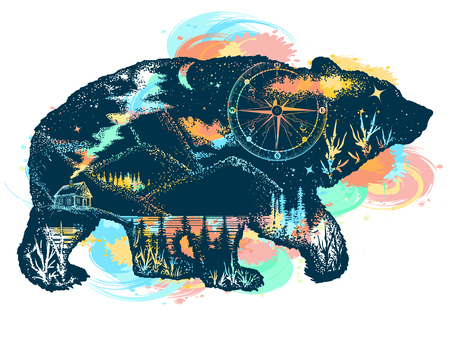 Magic bear double exposure color tattoo art. Mountains, compass. Bear grizzly silhouette t-shirt design. Tourism symbol, adventure, great outdoor