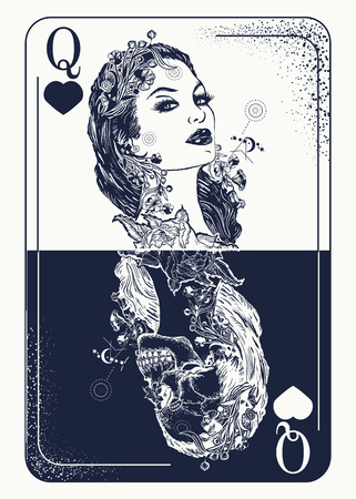 Illustration pour Queen playing card tattoo and t-shirt design. Beautiful girl and queen skeleton, Gothic playing card. Symbol of gamblings, tarot cards, success and defeat, casino, poker tattoo - image libre de droit